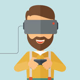 Man with virtual reality headset Royalty Free Stock Photo