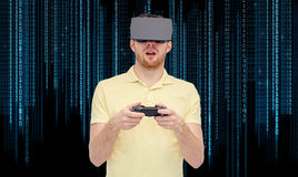 Man in virtual reality headset or 3d glasses Stock Images