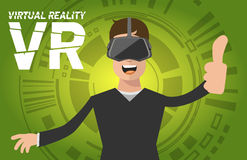A man with virtual reality headset. Flat icon Stock Image