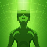 Man in the virtual reality headset vector illustration