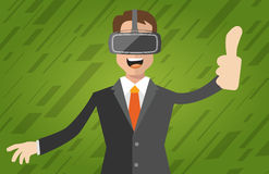 A man with virtual reality headset. A man with isometric virtual reality headset Stock Image