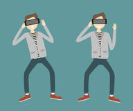 Man with Virtual Reality Headset. stock illustration