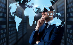 Man in virtual reality headset with world map royalty free stock image