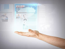 Man with virtual screen and news Royalty Free Stock Images