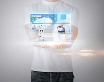 Man with virtual screen and news Stock Image