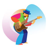 The man is a virtuoso jazz guitarist Stock Image