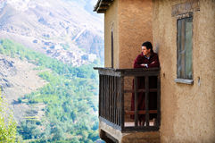 Man visiting a kasbah in morocco. Portrait of man looking pensively at scenery royalty free stock photography