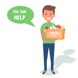 Man Volunteers with donation boxes  on white. Vector Illustration. Man Volunteers with donation boxes  on white. Vector Illustration Royalty Free Stock Images