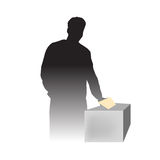 A man voting at election day. Vector illustration as silhouette of man voting at elections Stock Images