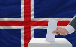 Man voting on elections in iceland Royalty Free Stock Image