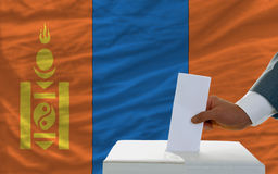 Man voting on elections in mongolia Stock Images