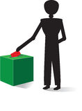 Man voting. With red enveloppe Royalty Free Stock Images