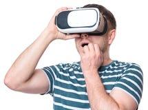Man in VR glasses stock image