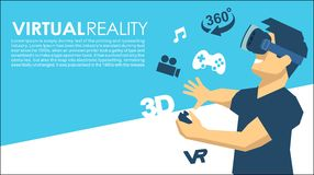 Man in a VR glasses 3d virtual reality icons. Virtual reality VR box glasses Royalty Free Stock Image