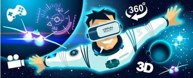 Man in a vr glasses in 3d virtual reality space icons Stock Photo