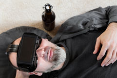 Man with vr glasses, downview Stock Images