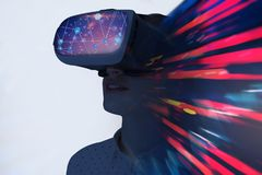 Man in vr glasses, network and vr stock photography