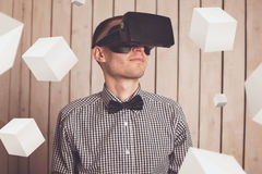 Man in VR glasses Royalty Free Stock Image