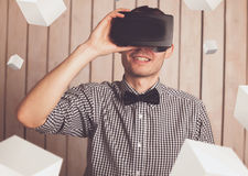 Man in VR glasses Royalty Free Stock Photos