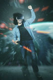 Man with VR glasses winning game Royalty Free Stock Photos