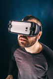 Man in VR headset Stock Photo