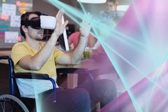 Man in VR headset touching pink and blue lights interfaces. Digital composite of Man in VR headset touching pink and blue lights interfaces Stock Image