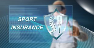 Man touching a sport insurance concept. Man with vr headset touching a sport insurance concept on a touch screen with his finger stock image