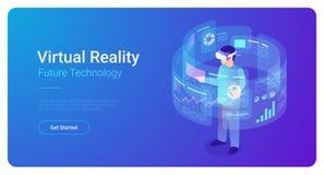 Man in VR helmet in Virtual Reality vector isometr. Ic flat illustration royalty free illustration