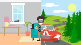 Man in vr playing in race. Royalty Free Stock Images