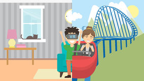 Man in vr riding rollercoaster. Royalty Free Stock Photo
