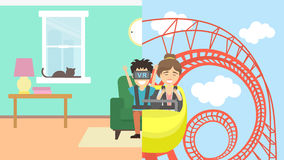 Man in vr riding rollercoaster. Royalty Free Stock Images