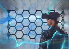 Man with vr in space room Stock Photography