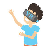 Man in vr. Teen boy or adult man in vr glasses standing on white background. Augmented reality and cyberspace. Video game or 3D film Stock Image