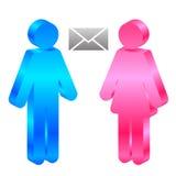 Man, vrouw en envelop Royalty-vrije Stock Afbeelding