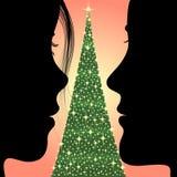 Man, vrouw en Kerstmisboom vector illustratie