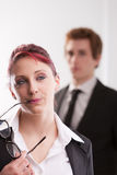 Man VS woman annoyances on workplace Stock Photo