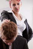 Man VS woman annoyances on workplace Royalty Free Stock Photography