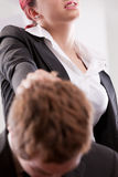 Man VS woman annoyances on workplace Stock Image