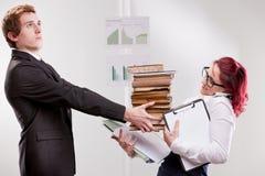Man VS woman annoyances on workplace Royalty Free Stock Photos