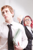 Man VS woman annoyances on workplace Royalty Free Stock Image