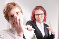 Man VS woman annoyances on workplace Stock Image