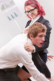 Man VS woman annoyances on workplace Royalty Free Stock Images