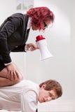 Man VS woman annoyances on workplace Stock Photo