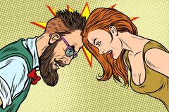 Man vs woman, confrontation and competition. Gender inequality and the fight against stereotypes. Pop art retro vector illustration vector illustration