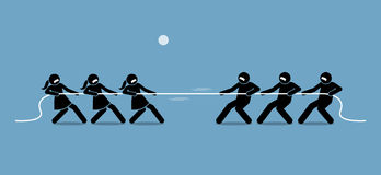 Man vs Woman in Tug of War. Illustration artwork depicts feminist, gender equality, strength, and power of male versus female Royalty Free Stock Image