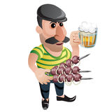 Man waiter in cap with kebab and beer. Character Royalty Free Stock Photo