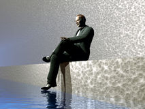 Man Waiting. Along side of water Royalty Free Stock Photo