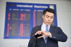 Man Waiting for Business Trip in Airport Royalty Free Stock Image