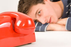 Man waiting for a call Stock Photo