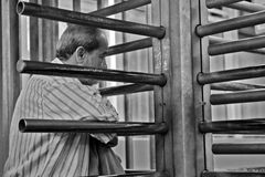 Man waiting in checkpoint Royalty Free Stock Photography